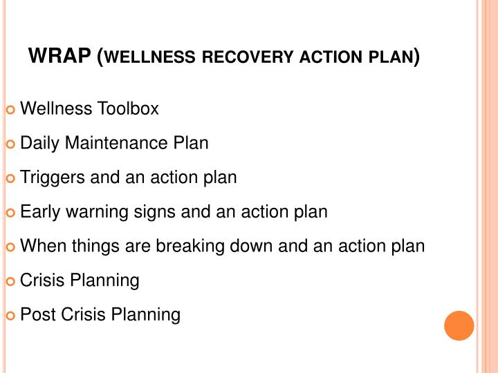 WRAP (wellness recovery action plan)