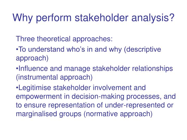 Why perform stakeholder analysis