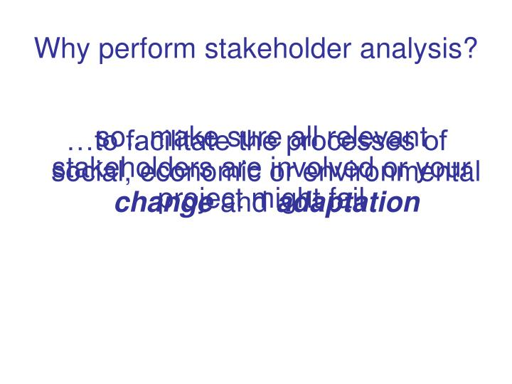 Why perform stakeholder analysis?