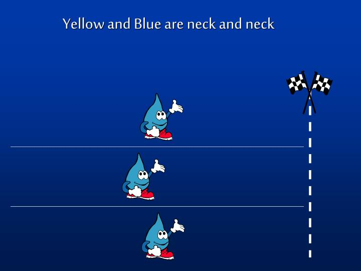 Yellow and Blue are neck and neck