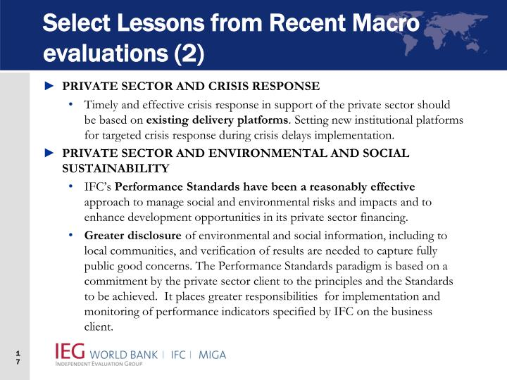 Select Lessons from Recent Macro evaluations (2)