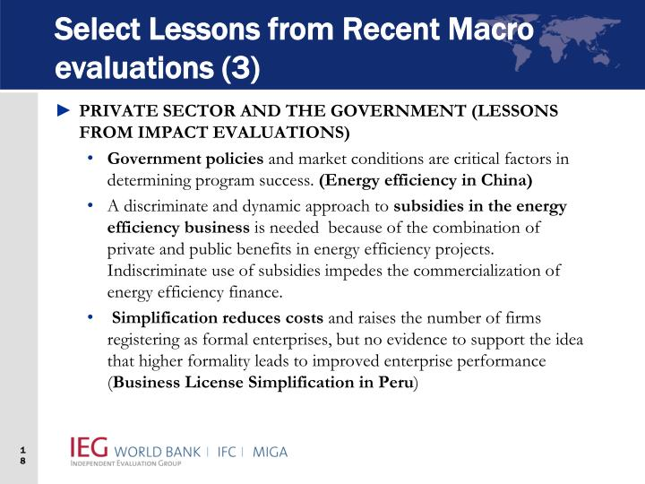 Select Lessons from Recent Macro evaluations (3)