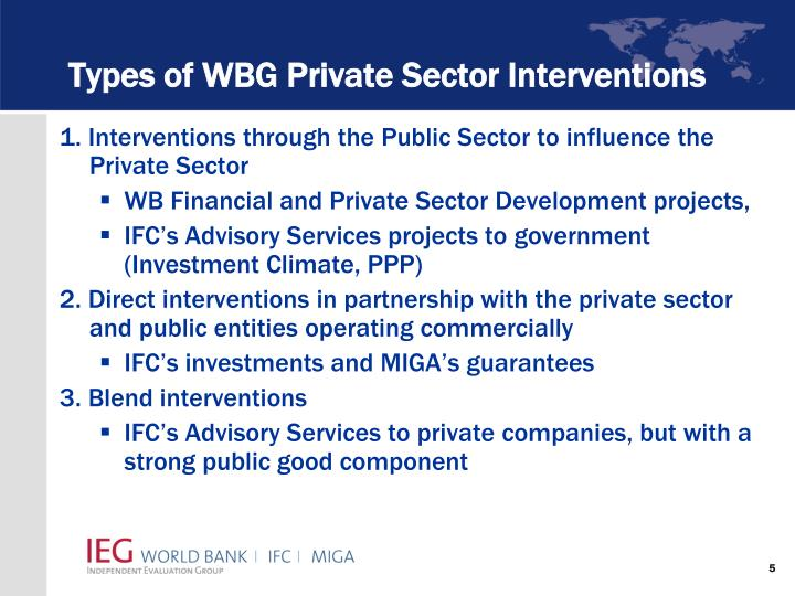 Types of WBG Private Sector Interventions