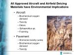 all approved aircraft and airfield deicing materials have environmental implications