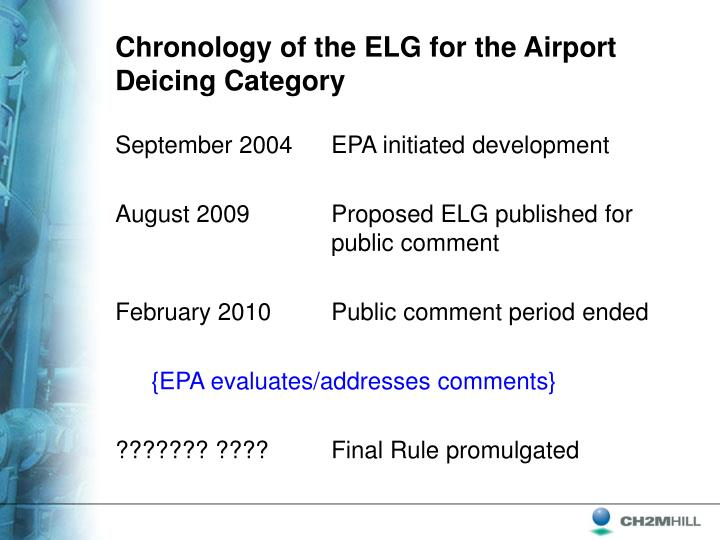 Chronology of the ELG for the Airport Deicing Category