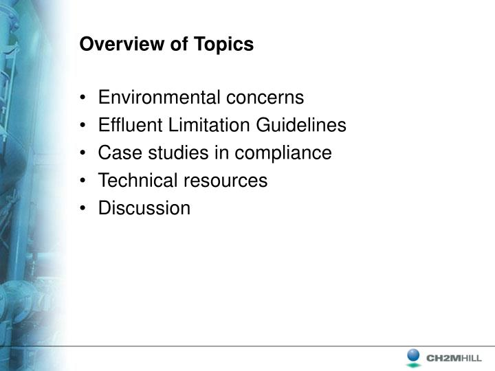 Overview of Topics