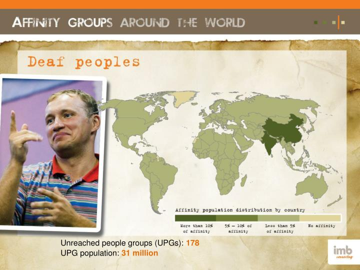 Unreached people groups (UPGs):