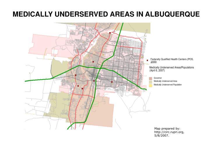 MEDICALLY UNDERSERVED AREAS IN ALBUQUERQUE