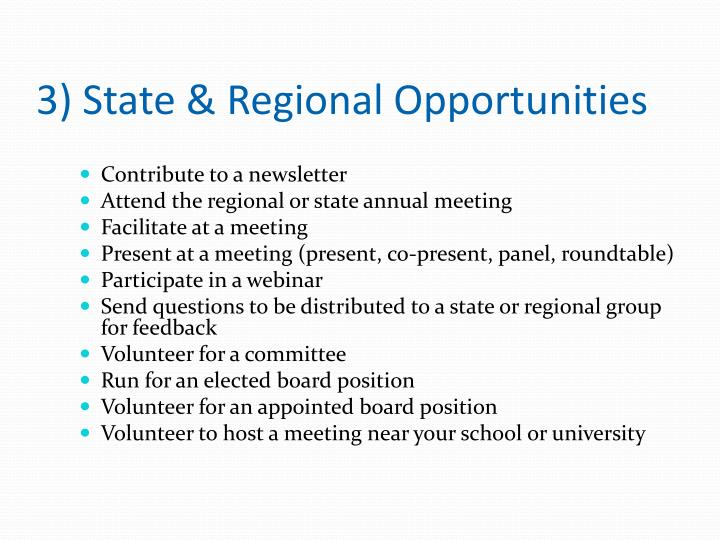 3) State & Regional Opportunities