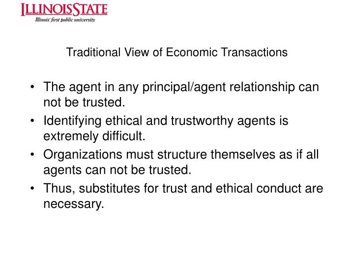 Traditional View of Economic Transactions