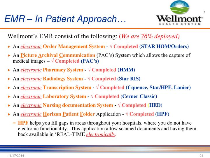 EMR – In Patient Approach…