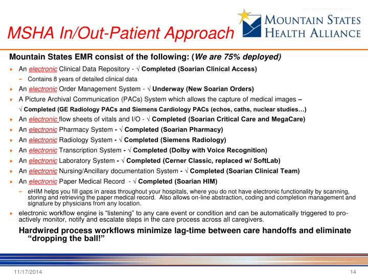 MSHA In/Out-Patient Approach