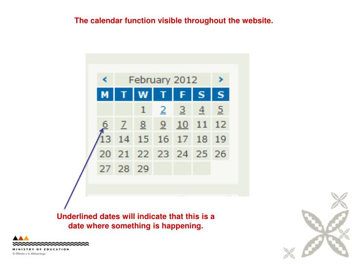 The calendar function visible throughout the website.