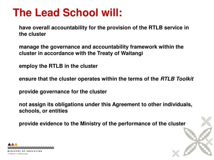 The Lead School will: