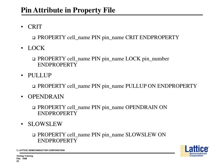 Pin Attribute in Property File
