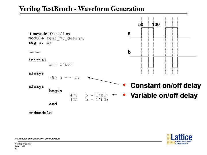 Verilog TestBench - Waveform Generation