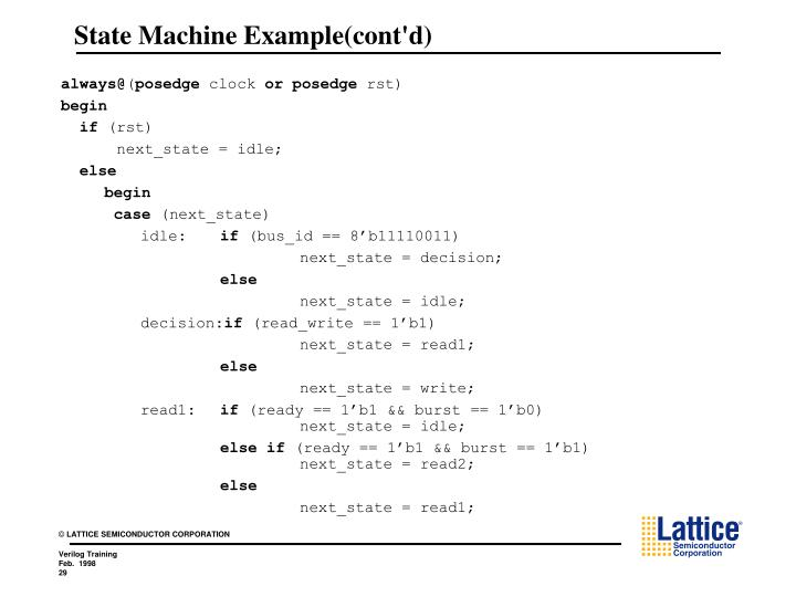 State Machine Example(cont'd)