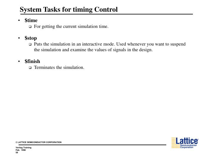 System Tasks for timing Control