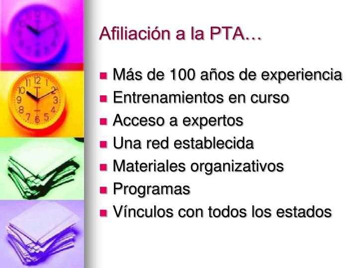 Afiliación a la PTA…