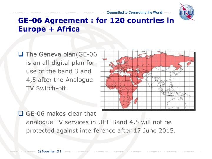 GE-06 Agreement : for 120 countries in Europe + Africa