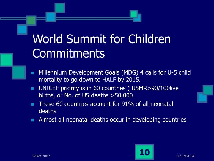World Summit for Children Commitments