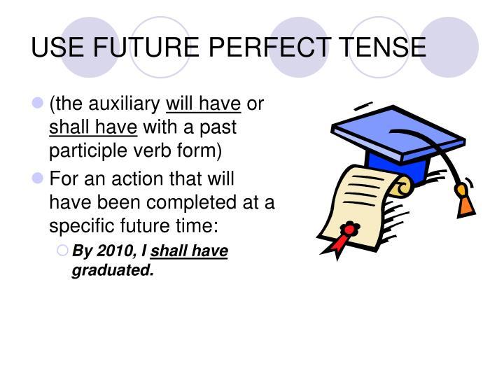 USE FUTURE PERFECT TENSE