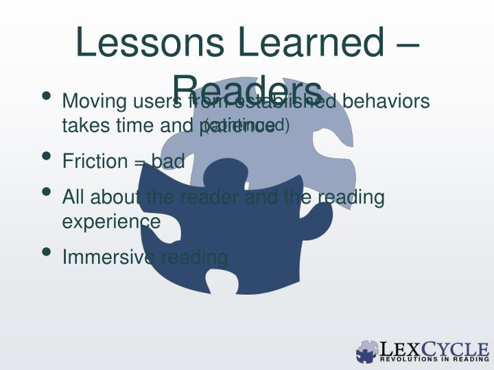 Lessons Learned – Readers
