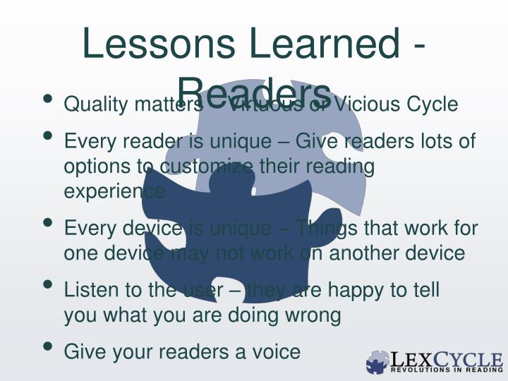 Lessons Learned - Readers