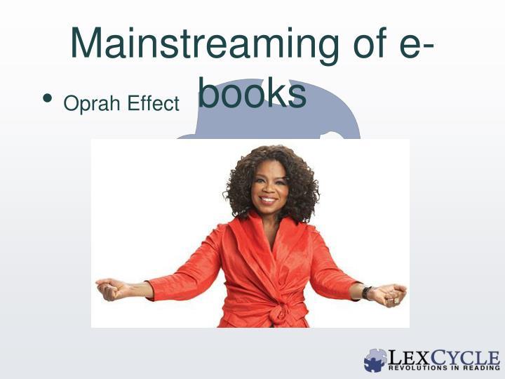 Mainstreaming of e-books