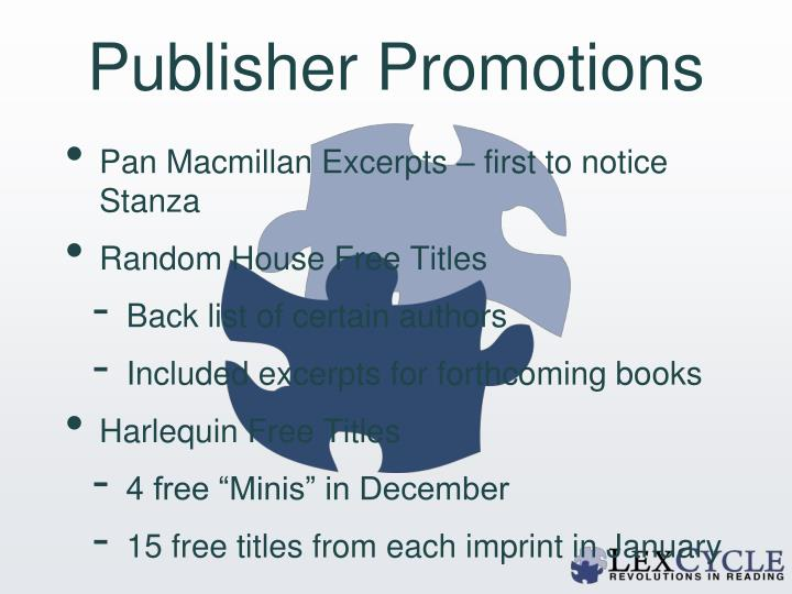 Publisher Promotions