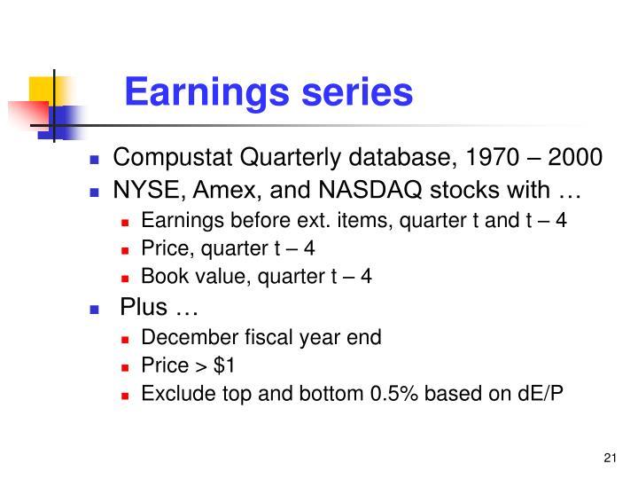 Earnings series