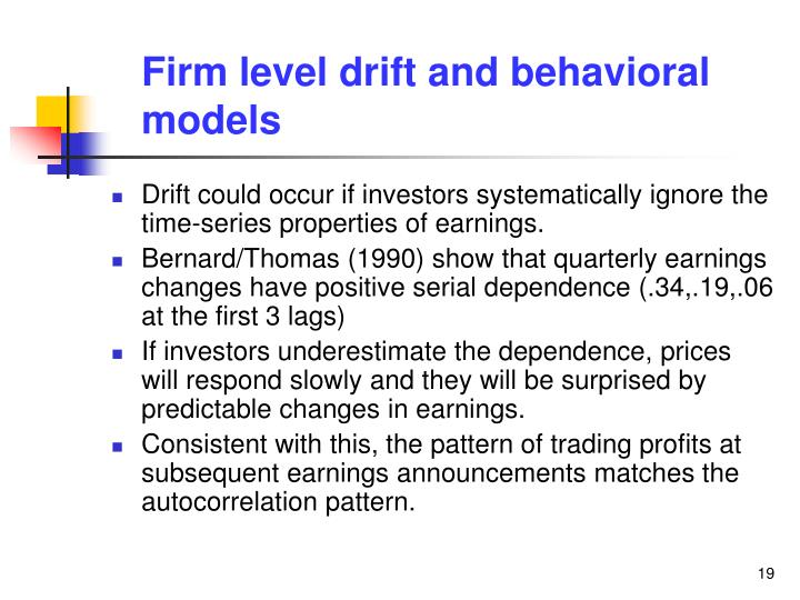 Firm level drift and behavioral models