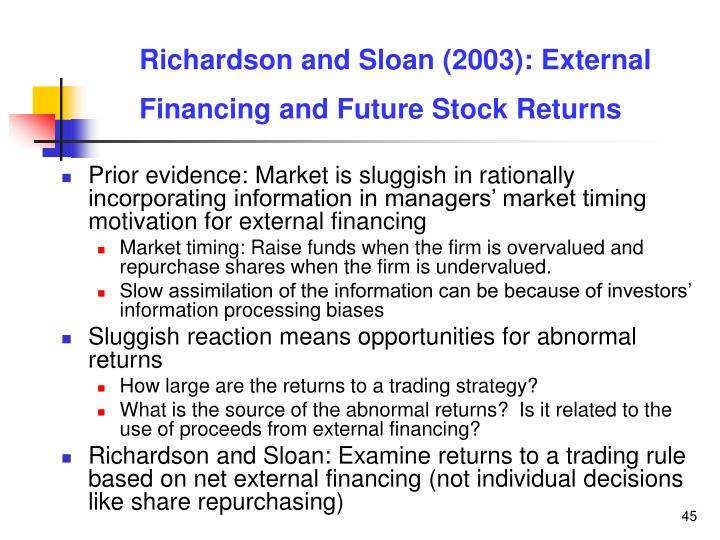 Richardson and Sloan (2003): External Financing and Future Stock Returns