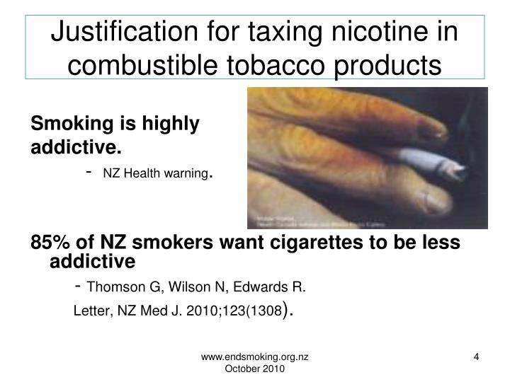Justification for taxing nicotine in combustible tobacco products