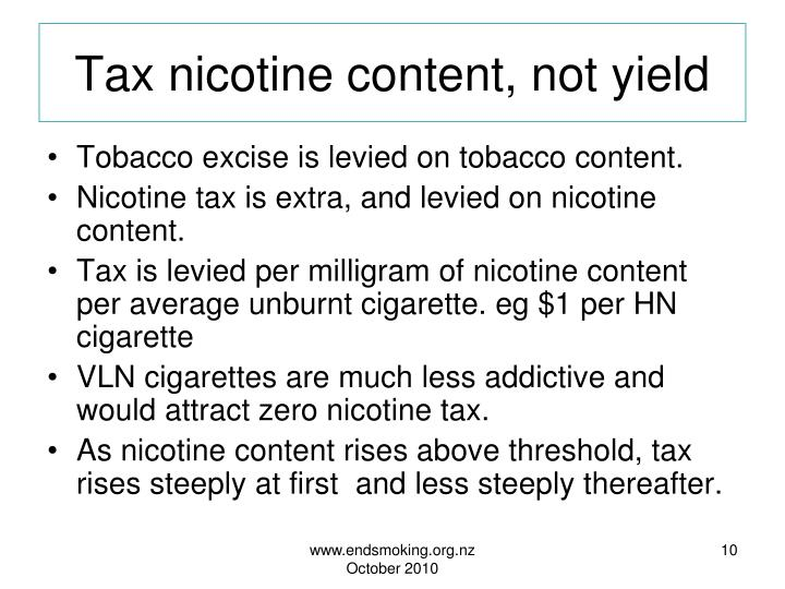 Tax nicotine content, not yield
