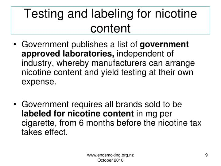 Testing and labeling for nicotine content