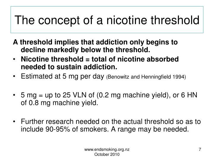 The concept of a nicotine threshold