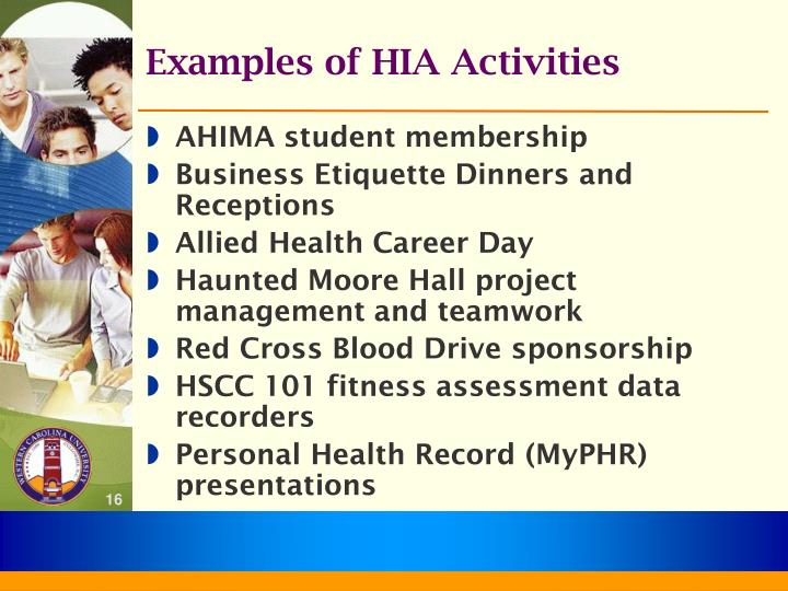 Examples of HIA Activities