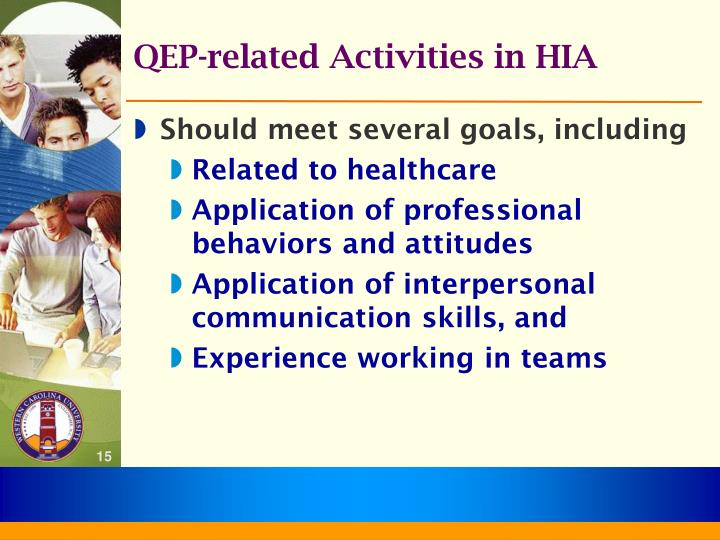 QEP-related Activities in HIA