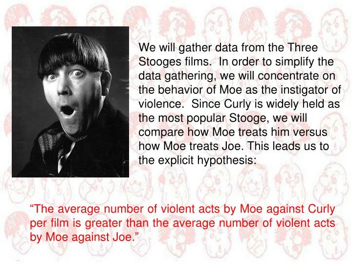 We will gather data from the Three Stooges films.  In order to simplify the data gathering, we will concentrate on the behavior of Moe as the instigator of violence.  Since Curly is widely held as the most popular Stooge, we will compare how Moe treats him versus how Moe treats Joe. This leads us to the explicit hypothesis: