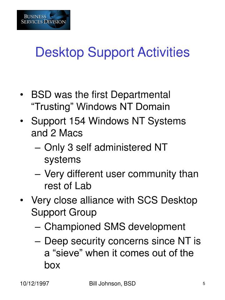 Desktop Support Activities