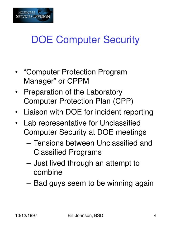 DOE Computer Security