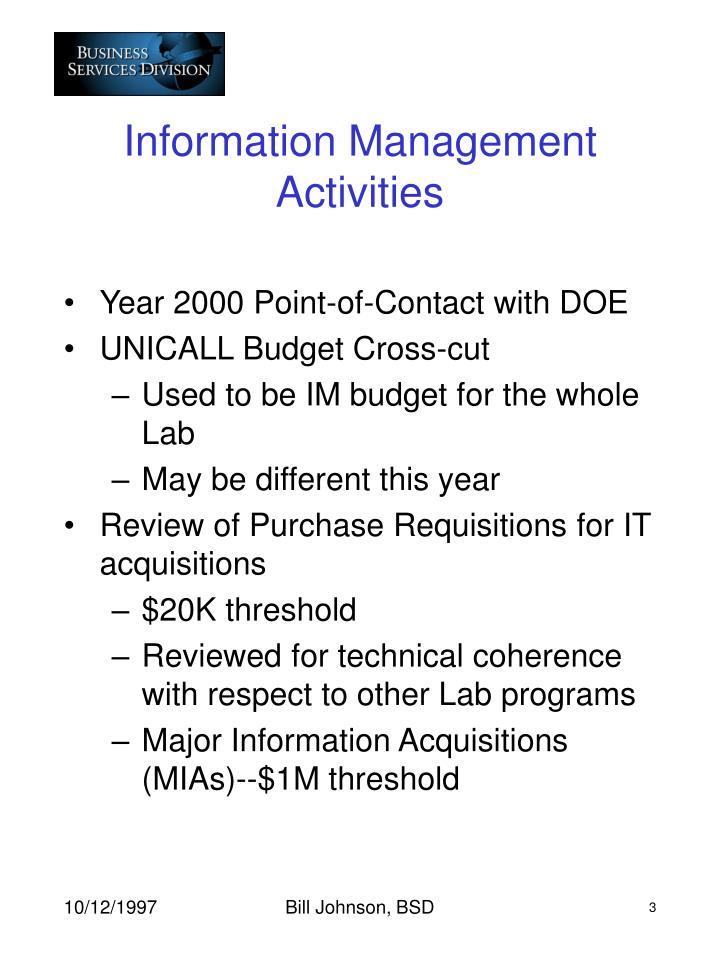 Information Management Activities