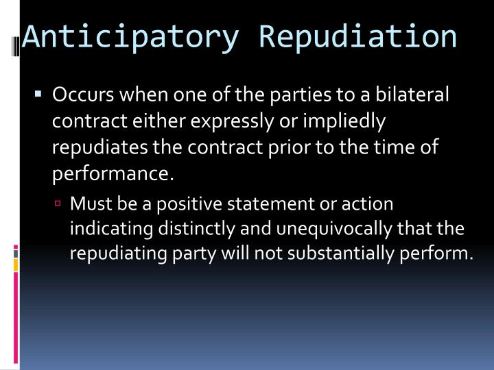 Anticipatory Repudiation