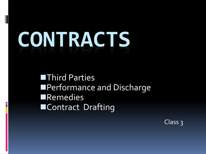 Third parties performance and discharge remedies contract drafting class 3