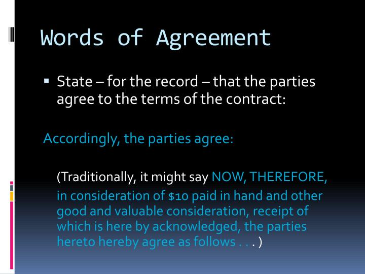Words of Agreement
