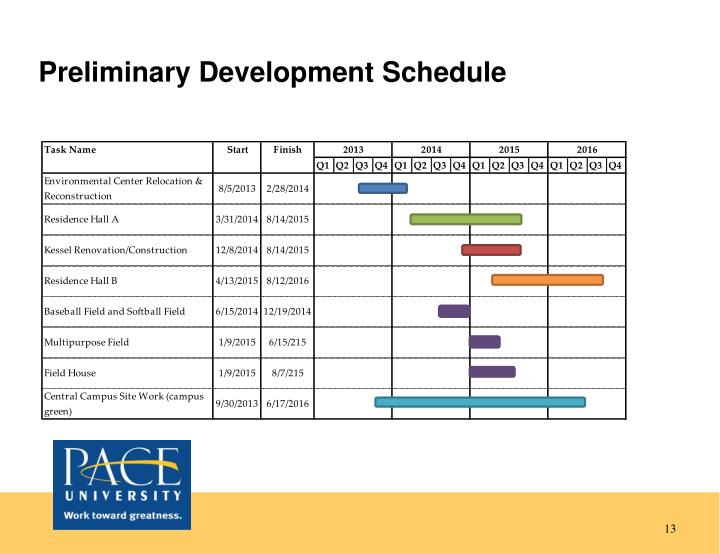 Preliminary Development Schedule