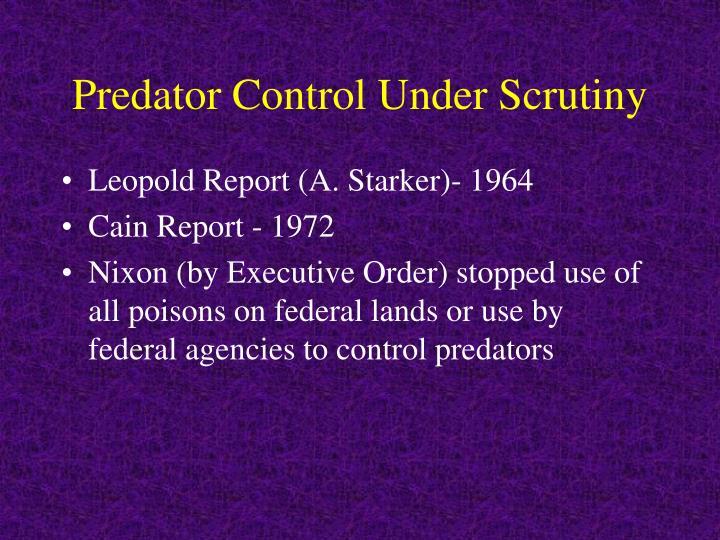 Predator Control Under Scrutiny