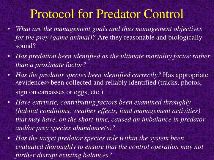 Protocol for Predator Control