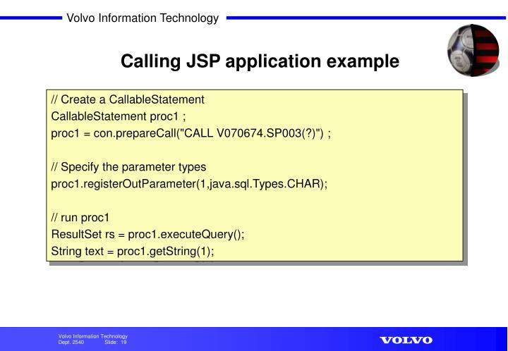 Calling JSP application example